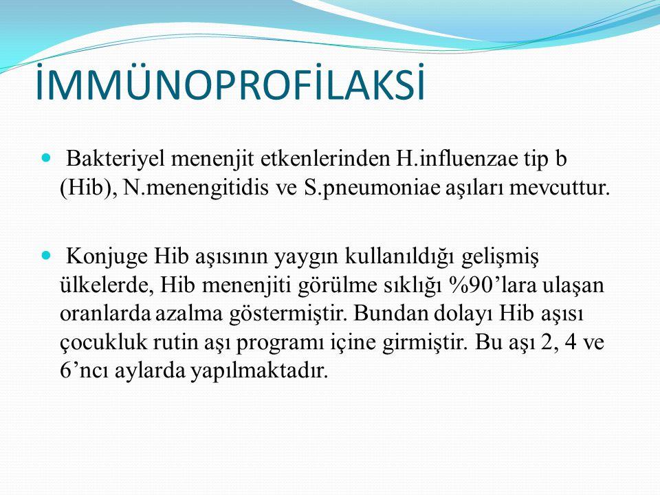 İMMÜNOPROFİLAKSİ Bakteriyel menenjit etkenlerinden H.influenzae tip b (Hib), N.menengitidis ve S.pneumoniae aşıları mevcuttur.