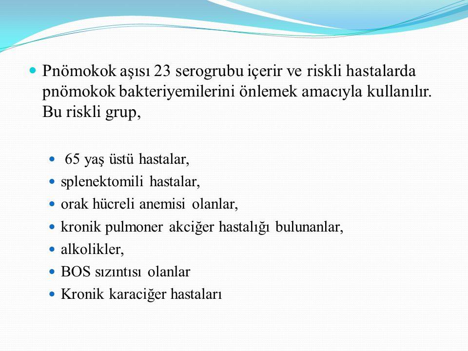 Pnömokok aşısı 23 serogrubu içerir ve riskli hastalarda pnömokok bakteriyemilerini önlemek amacıyla kullanılır. Bu riskli grup,