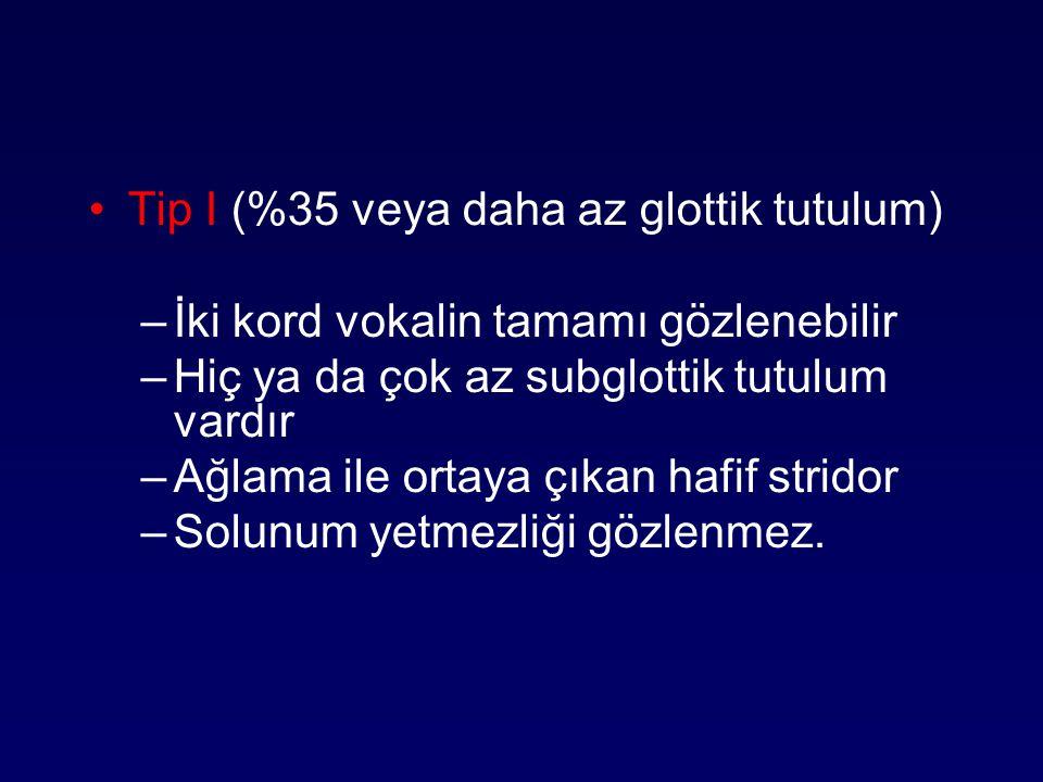 Tip I (%35 veya daha az glottik tutulum)