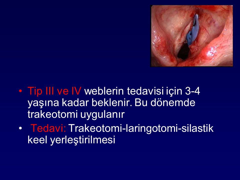 Tip III ve IV weblerin tedavisi için 3-4 yaşına kadar beklenir