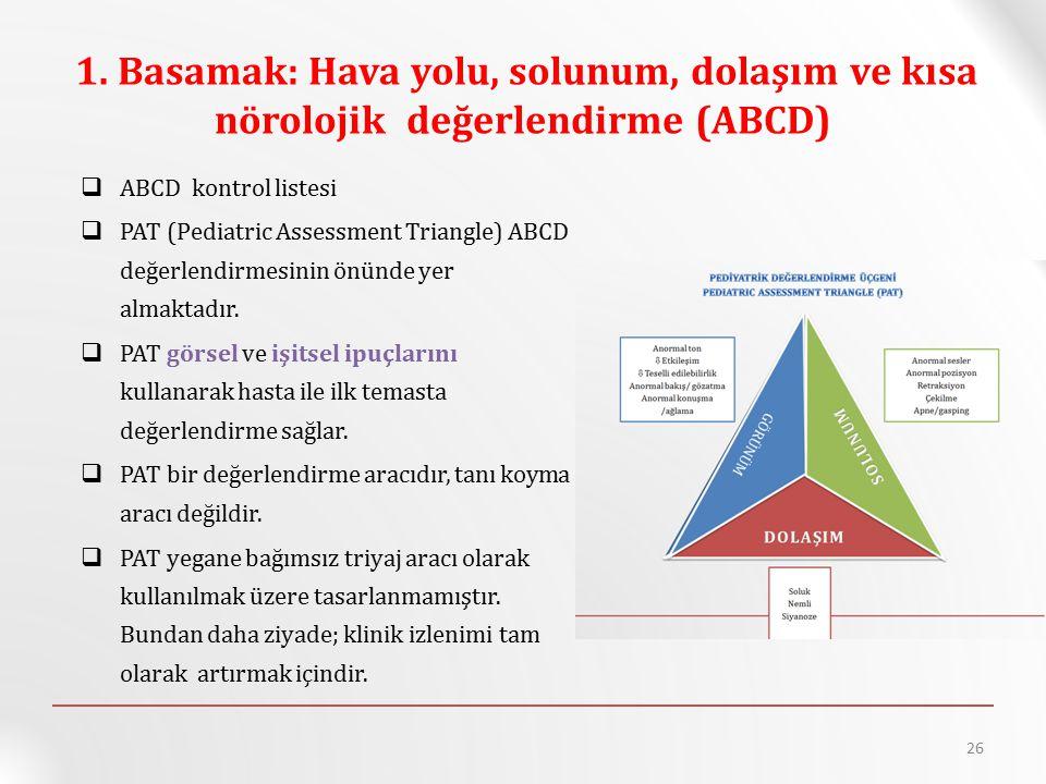 1. Basamak: Hava yolu, solunum, dolaşım ve kısa nörolojik değerlendirme (ABCD)