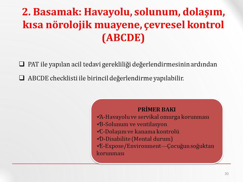 2. Basamak: Havayolu, solunum, dolaşım, kısa nörolojik muayene, çevresel kontrol (ABCDE)