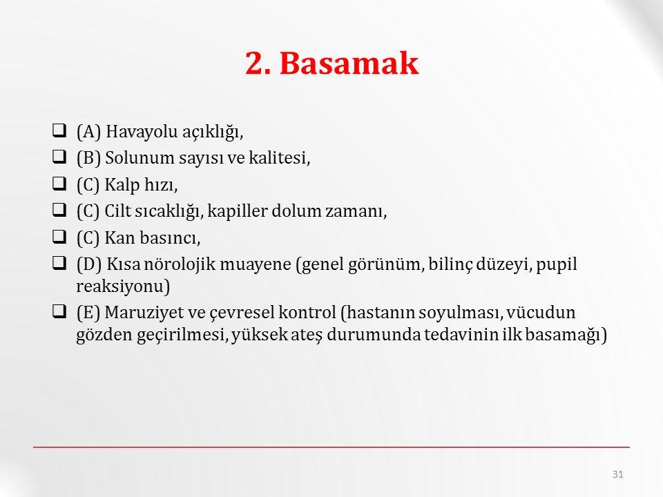 2. Basamak (A) Havayolu açıklığı, (B) Solunum sayısı ve kalitesi,