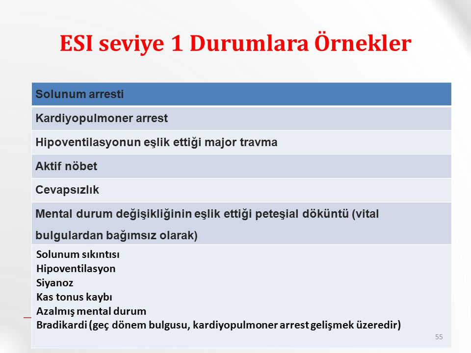 ESI seviye 1 Durumlara Örnekler