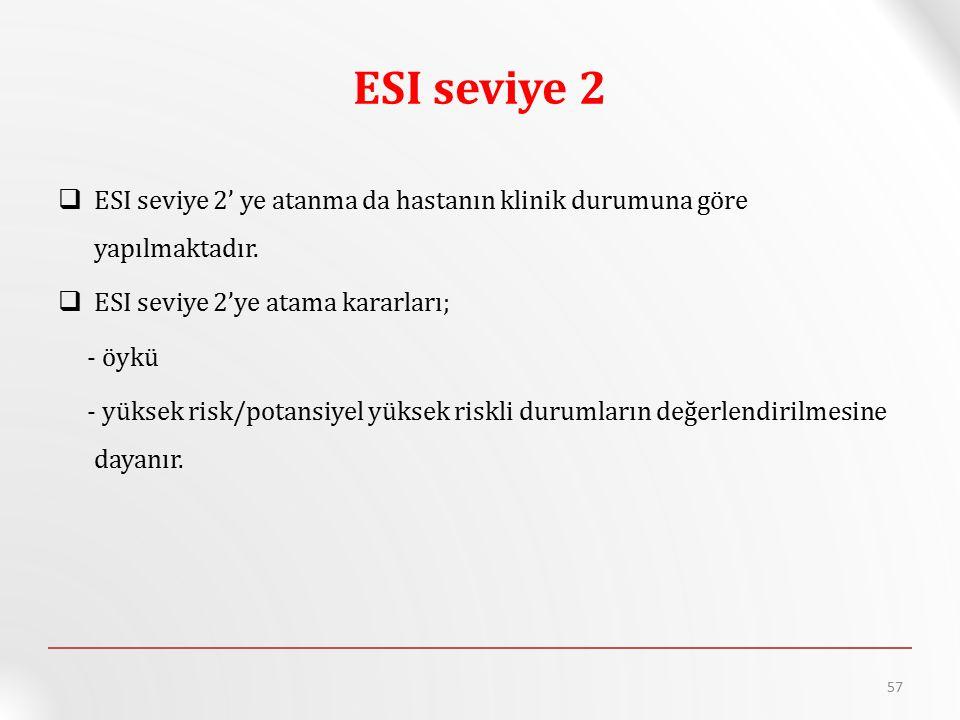 ESI seviye 2 ESI seviye 2' ye atanma da hastanın klinik durumuna göre yapılmaktadır. ESI seviye 2'ye atama kararları;