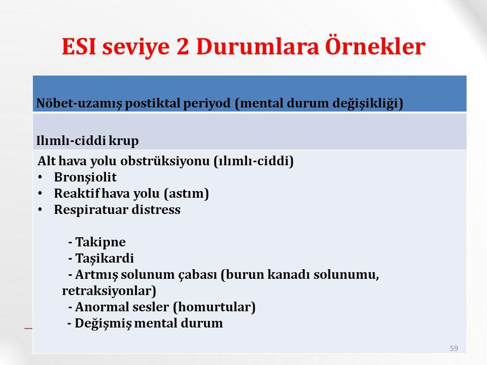 ESI seviye 2 Durumlara Örnekler