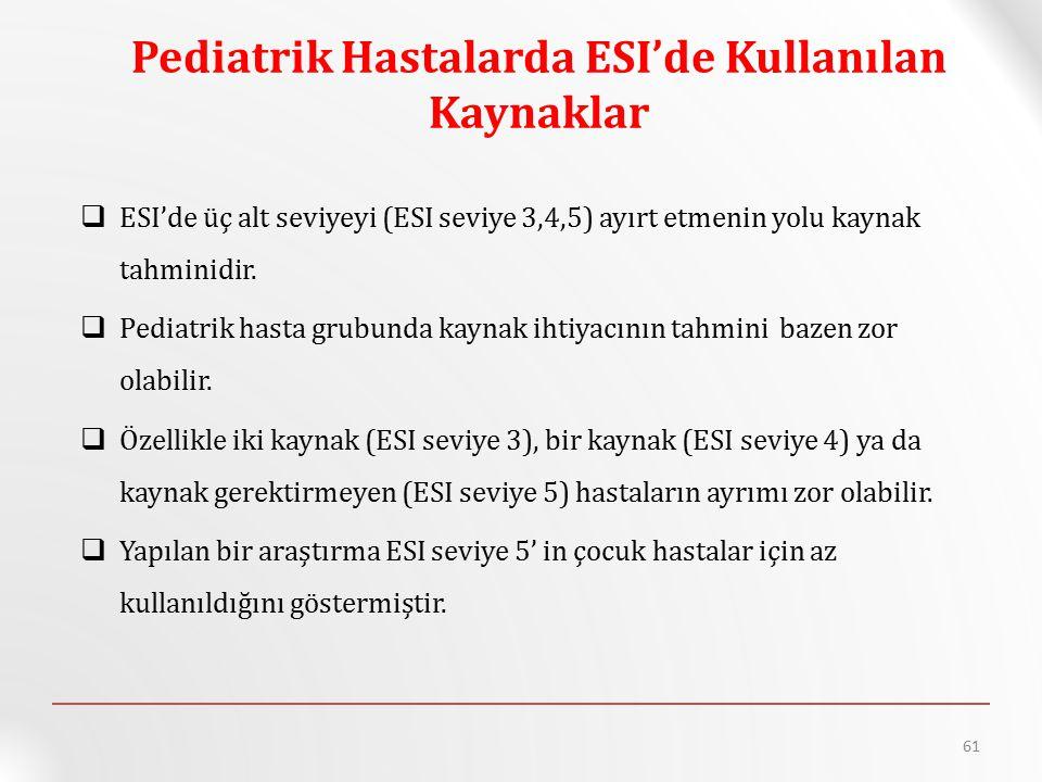 Pediatrik Hastalarda ESI'de Kullanılan Kaynaklar