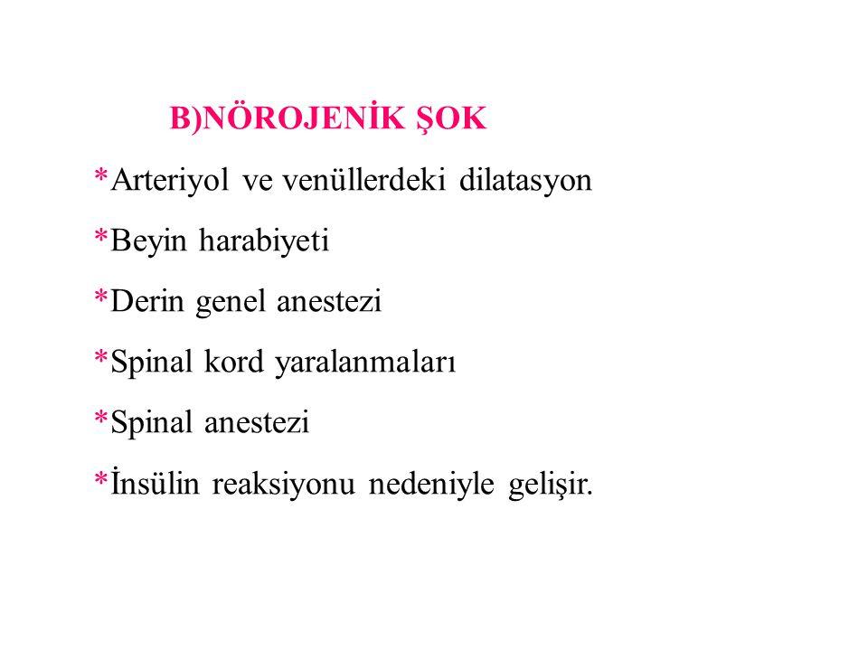 B)NÖROJENİK ŞOK *Arteriyol ve venüllerdeki dilatasyon. *Beyin harabiyeti. *Derin genel anestezi. *Spinal kord yaralanmaları.