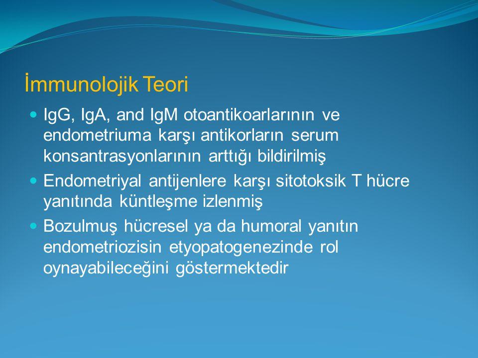 İmmunolojik Teori IgG, IgA, and IgM otoantikoarlarının ve endometriuma karşı antikorların serum konsantrasyonlarının arttığı bildirilmiş.