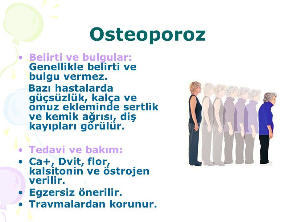 Osteoporoz Belirti ve bulgular: Genellikle belirti ve bulgu vermez.
