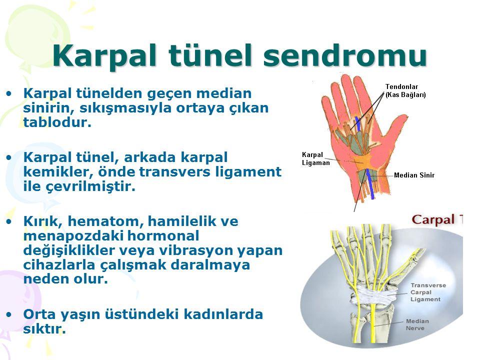 Karpal tünel sendromu Karpal tünelden geçen median sinirin, sıkışmasıyla ortaya çıkan tablodur.