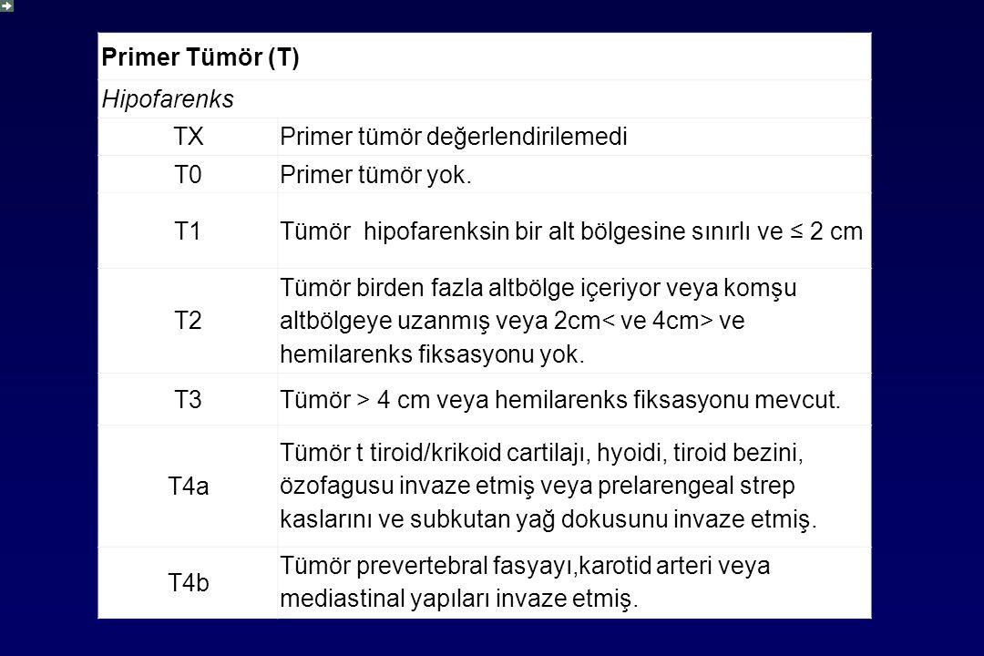 Primer Tümör (T) Hipofarenks. TX. Primer tümör değerlendirilemedi. T0. Primer tümör yok. T1.
