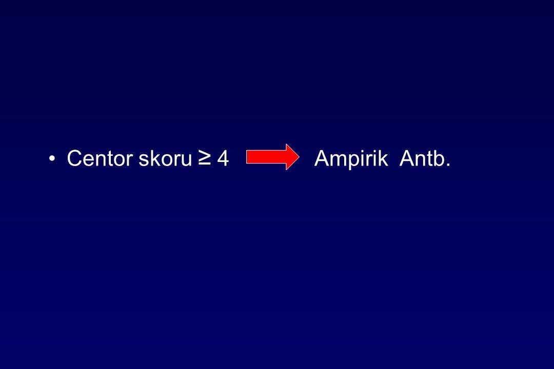 Centor skoru ≥ 4 Ampirik Antb.