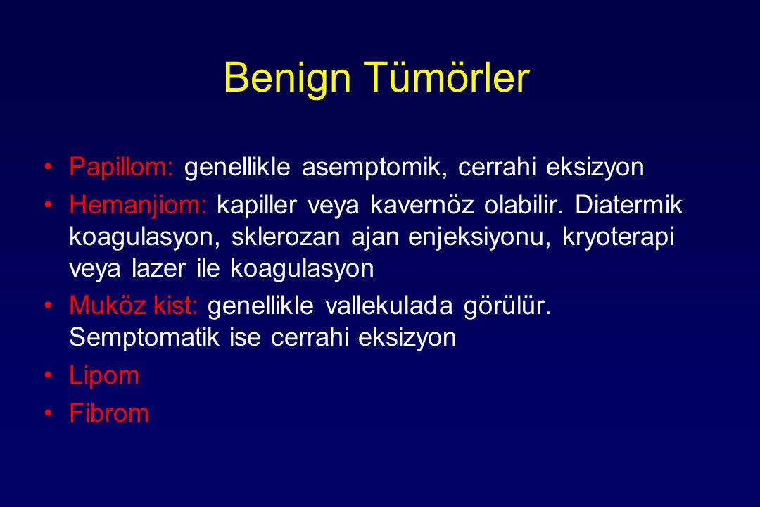 Benign Tümörler Papillom: genellikle asemptomik, cerrahi eksizyon