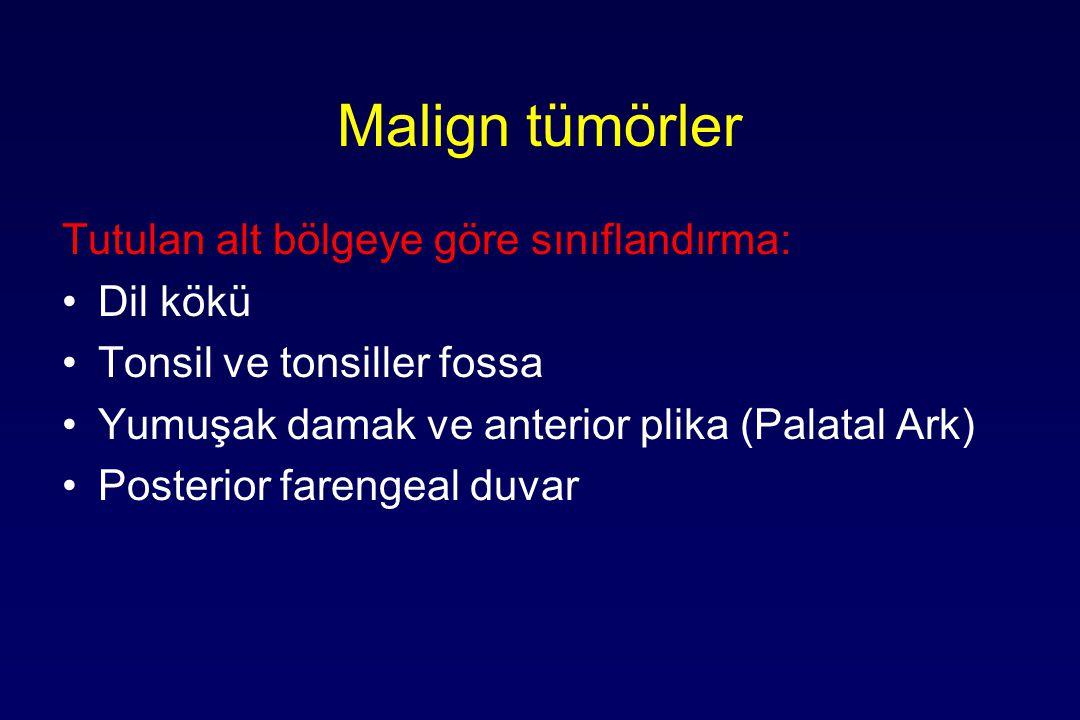 Malign tümörler Tutulan alt bölgeye göre sınıflandırma: Dil kökü