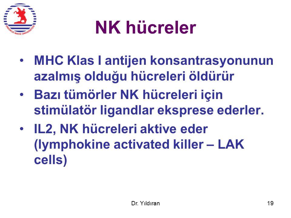 NK hücreler MHC Klas I antijen konsantrasyonunun azalmış olduğu hücreleri öldürür.