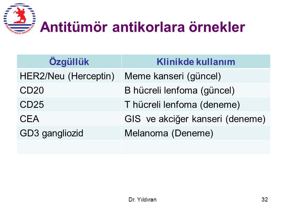 Antitümör antikorlara örnekler