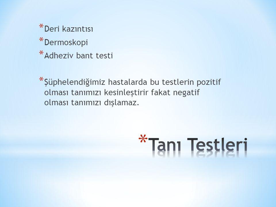 Tanı Testleri Deri kazıntısı Dermoskopi Adheziv bant testi