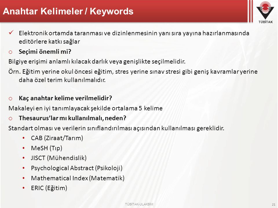 Anahtar Kelimeler / Keywords