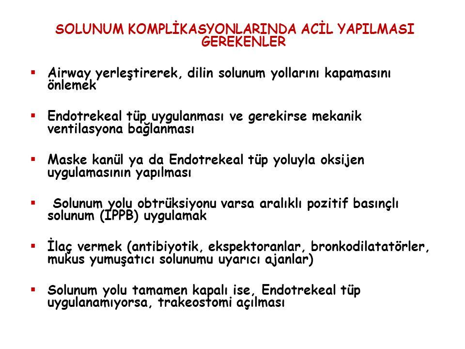 SOLUNUM KOMPLİKASYONLARINDA ACİL YAPILMASI GEREKENLER