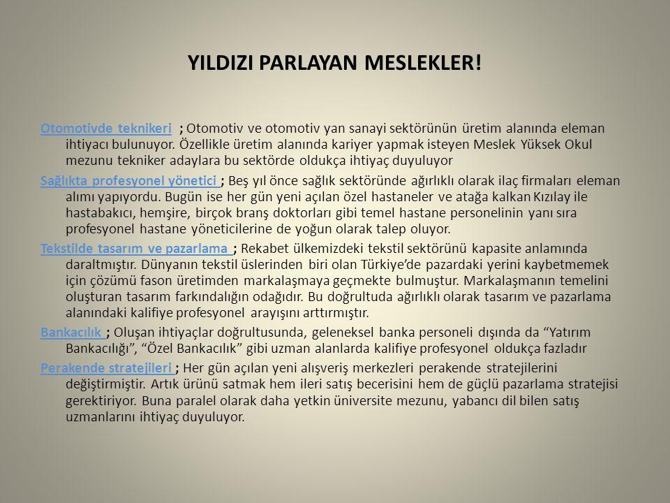 YILDIZI PARLAYAN MESLEKLER!