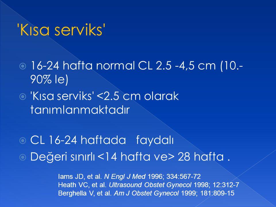 Kısa serviks 16-24 hafta normal CL 2.5 -4,5 cm (10.-90% le)