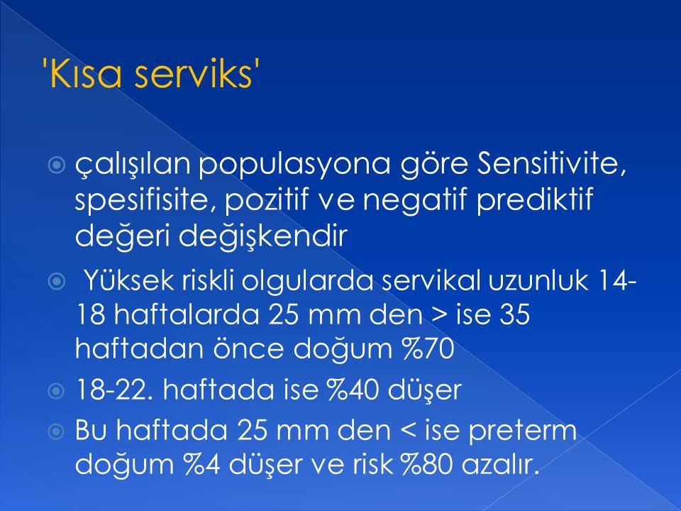 Kısa serviks çalışılan populasyona göre Sensitivite, spesifisite, pozitif ve negatif prediktif değeri değişkendir.