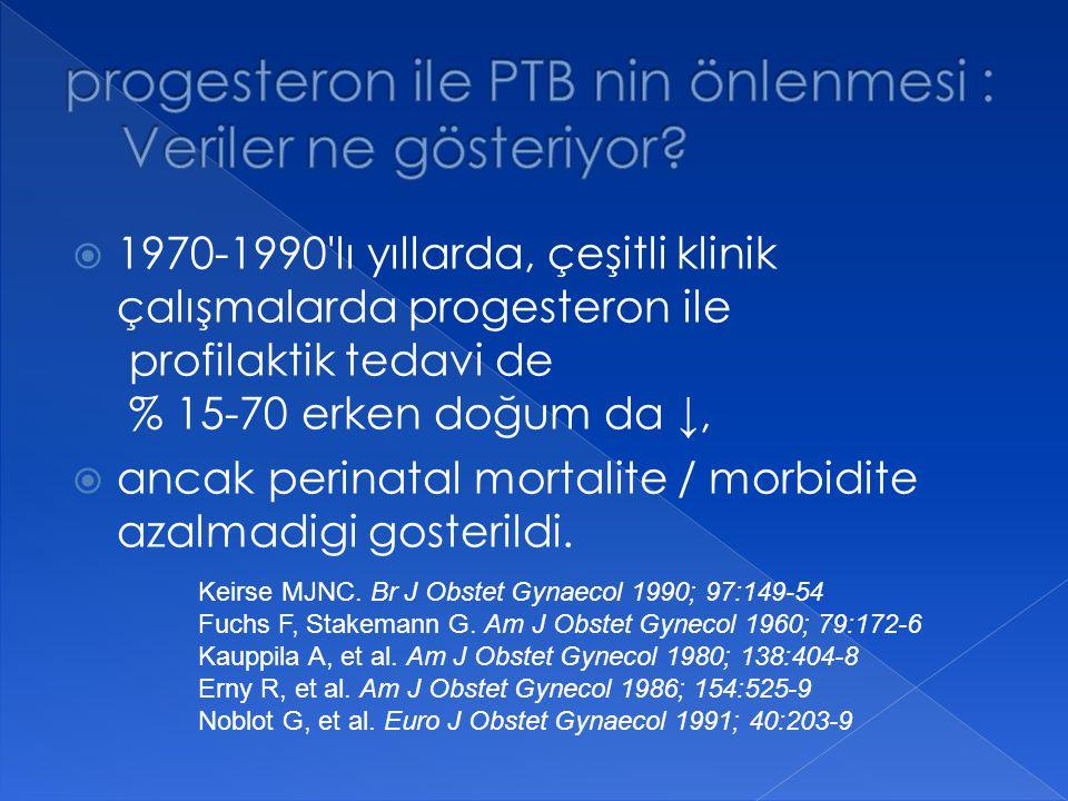 progesteron ile PTB nin önlenmesi : Veriler ne gösteriyor