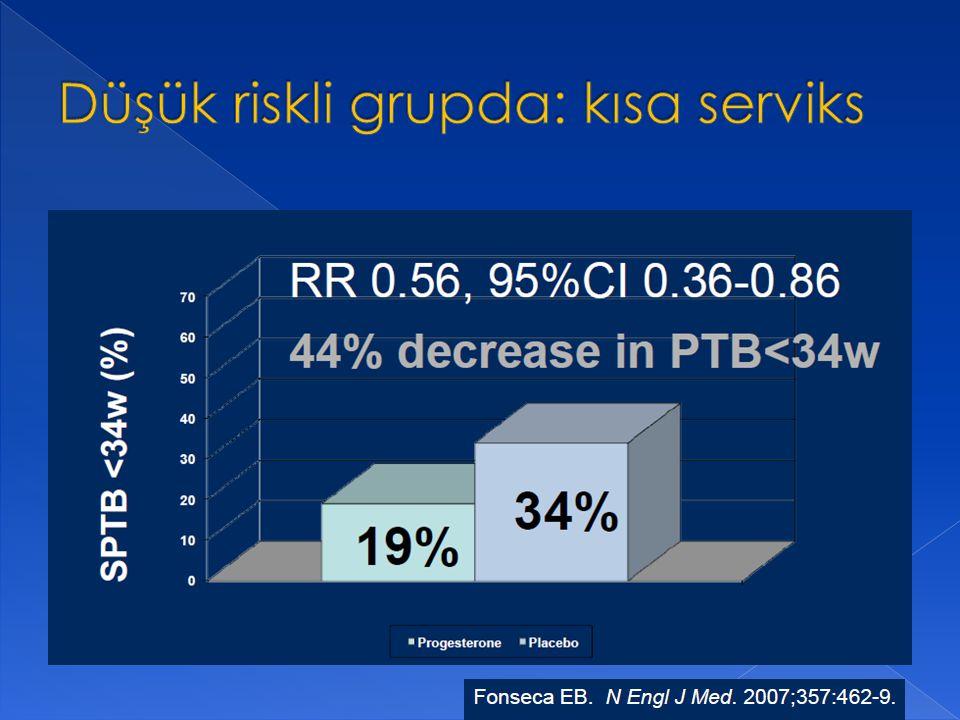 Düşük riskli grupda: kısa serviks