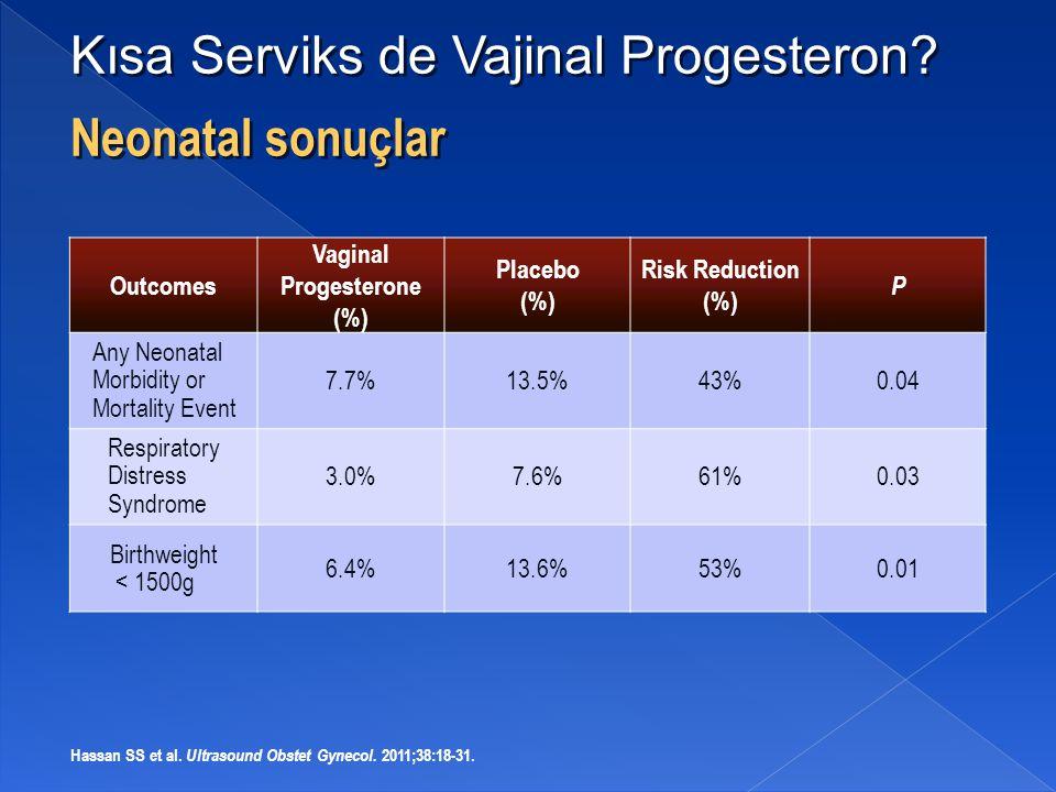 Kısa Serviks de Vajinal Progesteron Neonatal sonuçlar