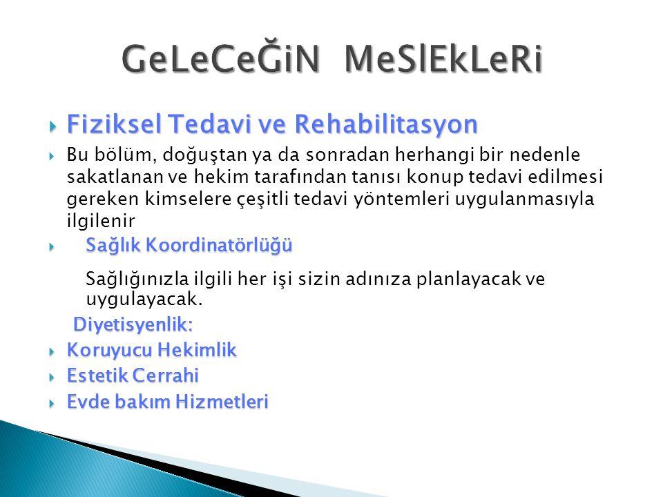 GeLeCeĞiN MeSlEkLeRi Fiziksel Tedavi ve Rehabilitasyon