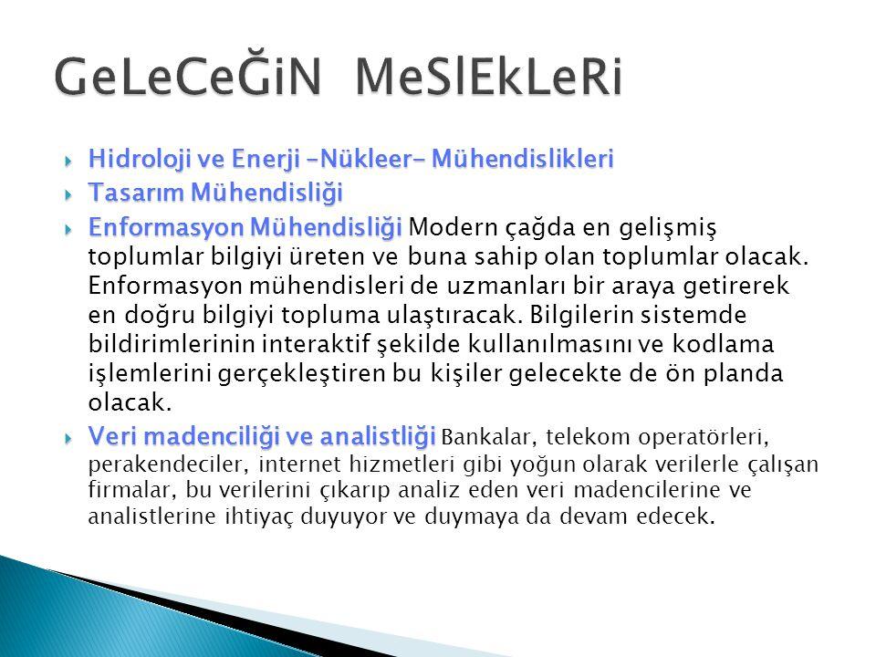 GeLeCeĞiN MeSlEkLeRi Hidroloji ve Enerji –Nükleer- Mühendislikleri