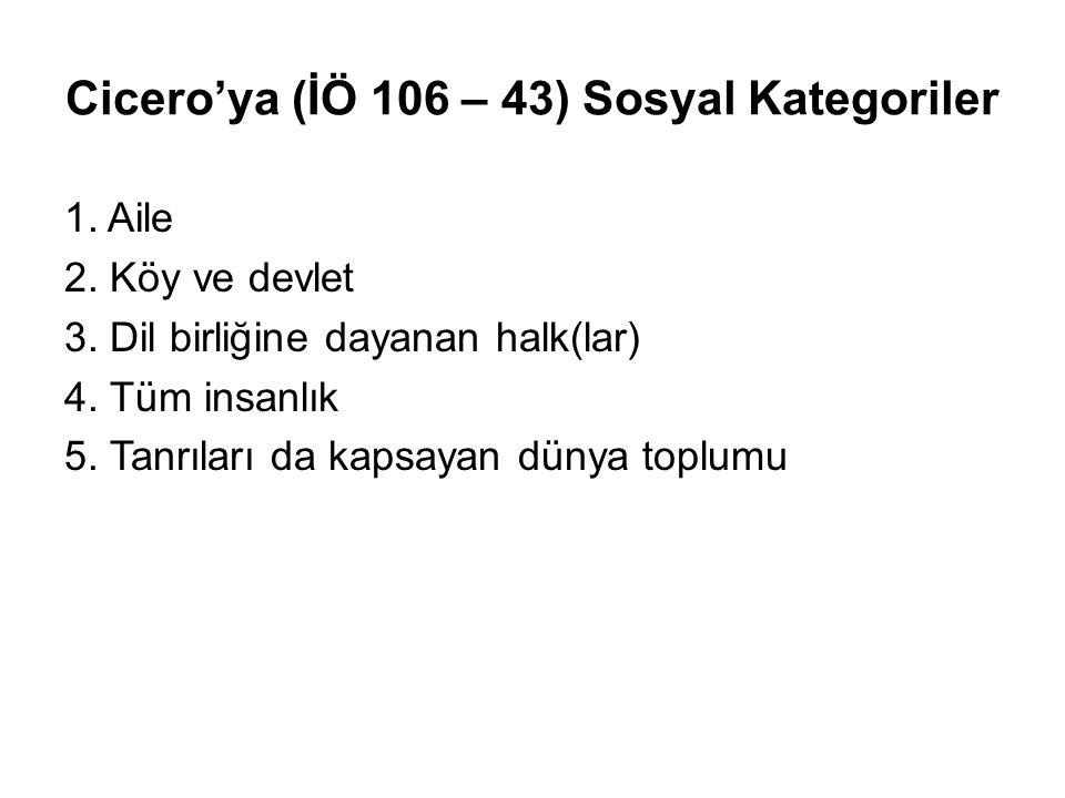 Cicero'ya (İÖ 106 – 43) Sosyal Kategoriler