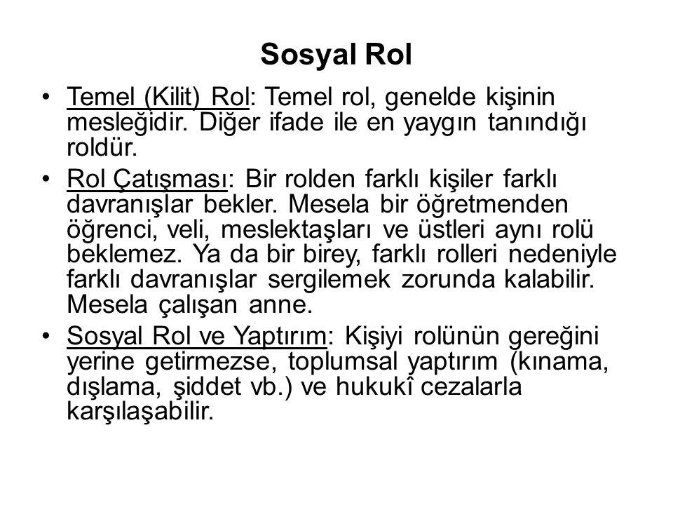 Sosyal Rol Temel (Kilit) Rol: Temel rol, genelde kişinin mesleğidir. Diğer ifade ile en yaygın tanındığı roldür.