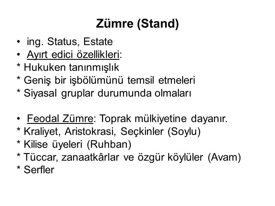 Zümre (Stand) ing. Status, Estate Ayırt edici özellikleri: