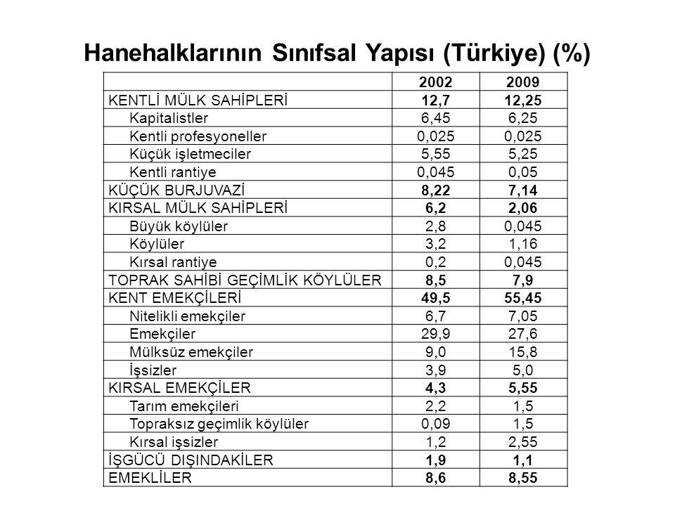 Hanehalklarının Sınıfsal Yapısı (Türkiye) (%)