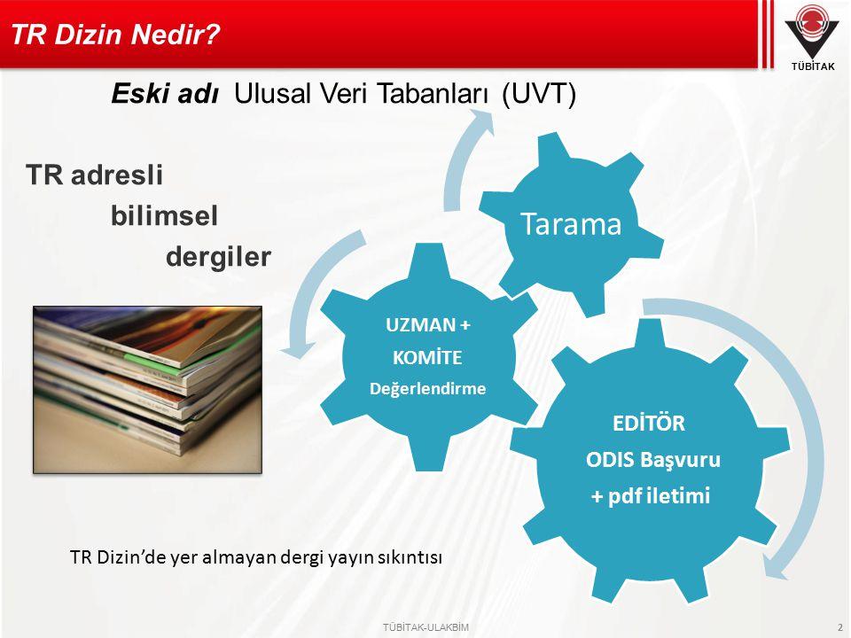 Eski adı Ulusal Veri Tabanları (UVT) TR adresli bilimsel dergiler