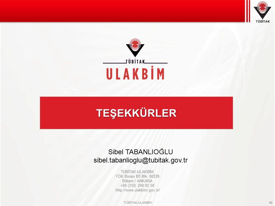 Sibel TABANLIOĞLU sibel.tabanlioglu@tubitak.gov.tr