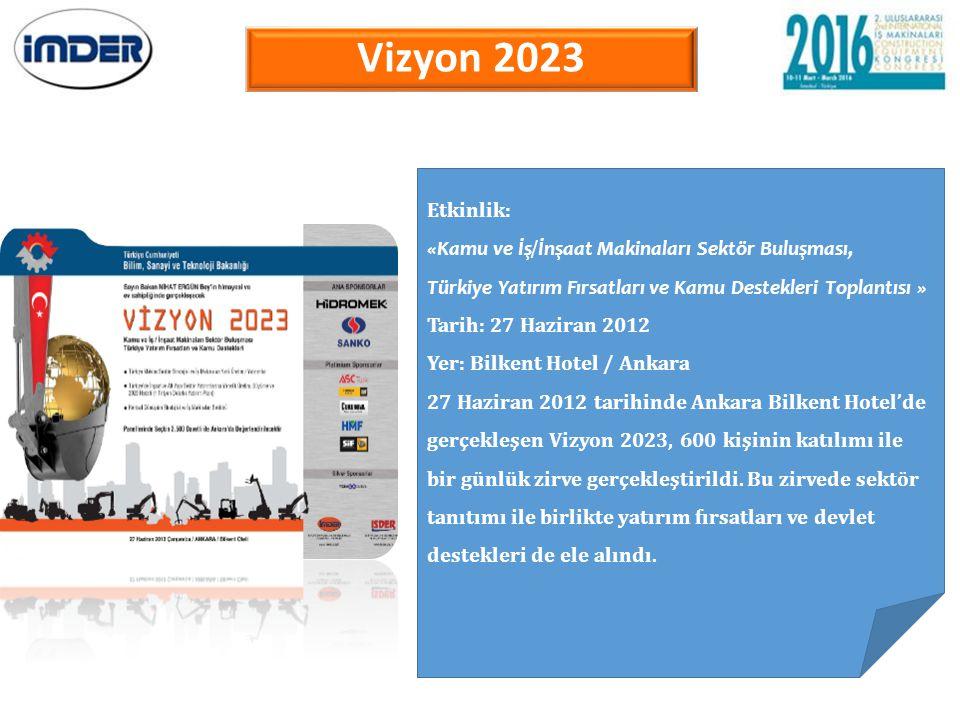 Vizyon 2023 Etkinlik: «Kamu ve İş/İnşaat Makinaları Sektör Buluşması,