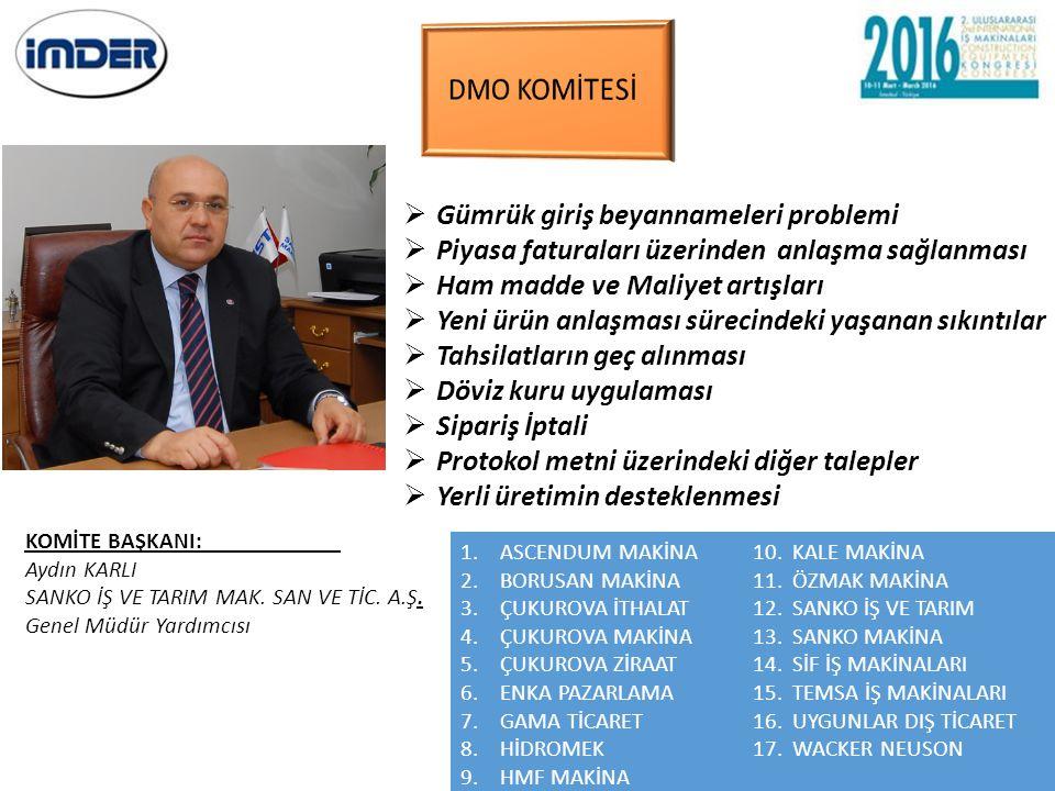 DMO KOMİTESİ Gümrük giriş beyannameleri problemi