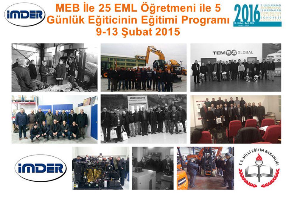 MEB İle 25 EML Öğretmeni ile 5 Günlük Eğiticinin Eğitimi Programı 9-13 Şubat 2015