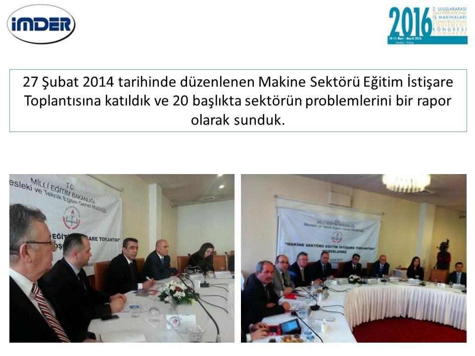 27 Şubat 2014 tarihinde düzenlenen Makine Sektörü Eğitim İstişare Toplantısına katıldık ve 20 başlıkta sektörün problemlerini bir rapor olarak sunduk.