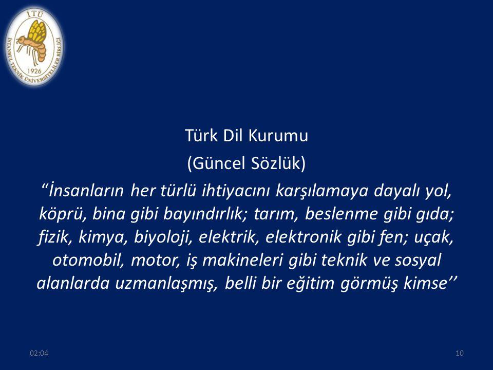 Türk Dil Kurumu (Güncel Sözlük) İnsanların her türlü ihtiyacını karşılamaya dayalı yol, köprü, bina gibi bayındırlık; tarım, beslenme gibi gıda; fizik, kimya, biyoloji, elektrik, elektronik gibi fen; uçak, otomobil, motor, iş makineleri gibi teknik ve sosyal alanlarda uzmanlaşmış, belli bir eğitim görmüş kimse''