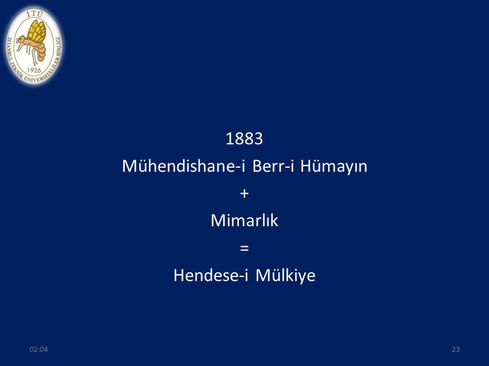 1883 Mühendishane-i Berr-i Hümayın + Mimarlık = Hendese-i Mülkiye