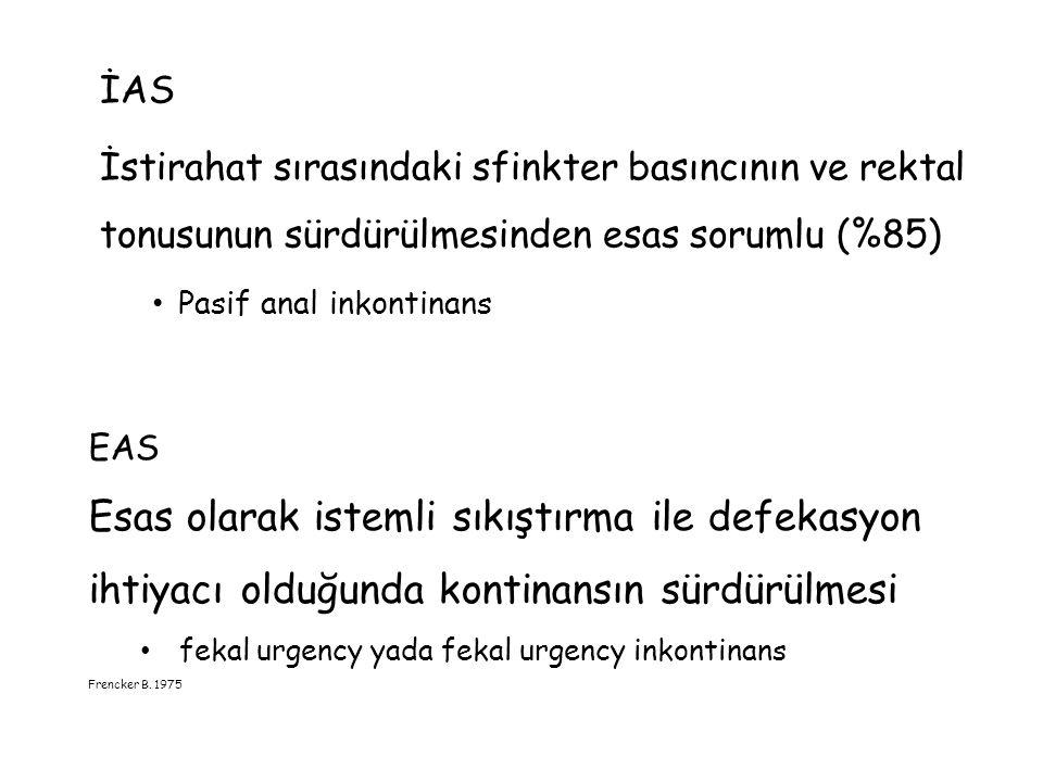 İAS İstirahat sırasındaki sfinkter basıncının ve rektal tonusunun sürdürülmesinden esas sorumlu (%85)