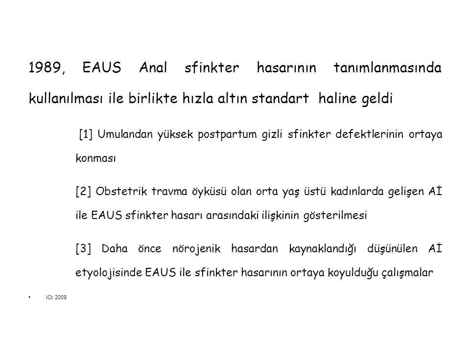 1989, EAUS Anal sfinkter hasarının tanımlanmasında kullanılması ile birlikte hızla altın standart haline geldi