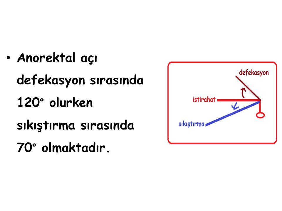 Anorektal açı defekasyon sırasında 120° olurken sıkıştırma sırasında 70° olmaktadır.