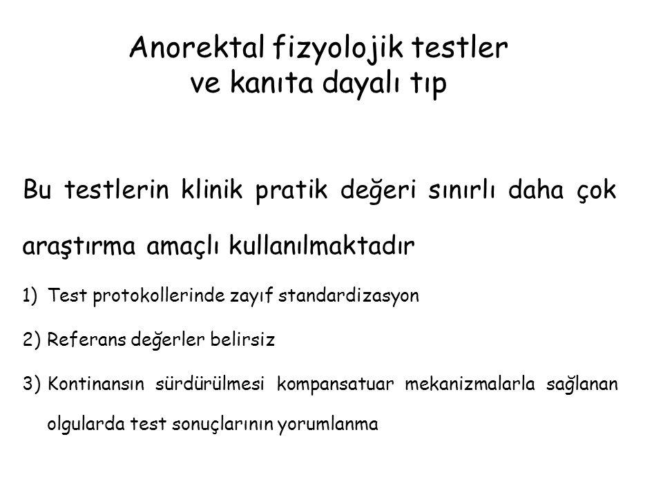 Anorektal fizyolojik testler ve kanıta dayalı tıp