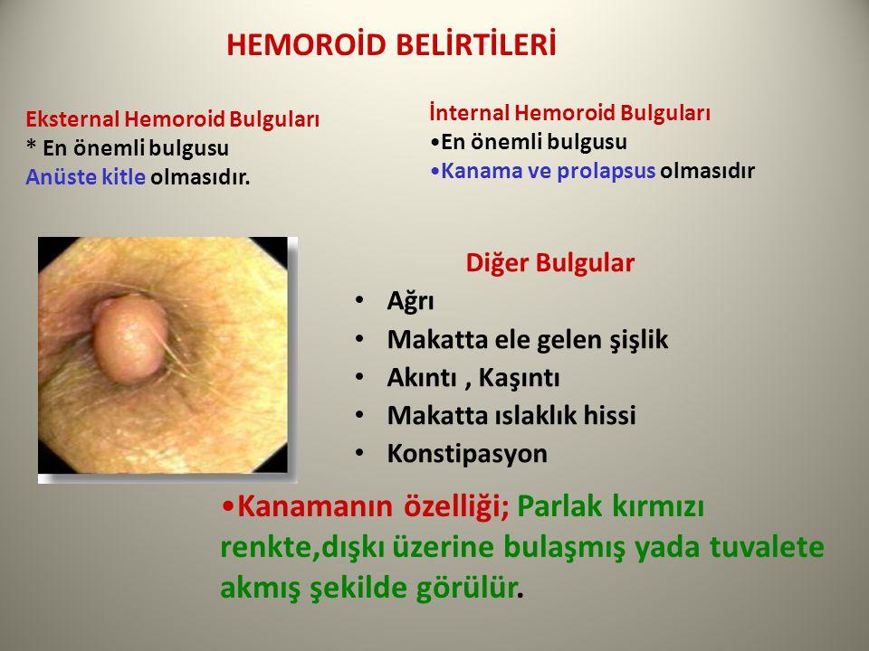 HEMOROİD BELİRTİLERİ İnternal Hemoroid Bulguları. En önemli bulgusu. Kanama ve prolapsus olmasıdır.