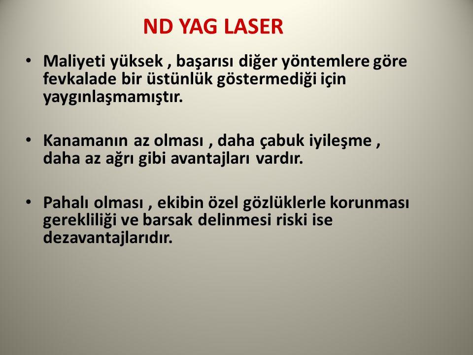 ND YAG LASER Maliyeti yüksek , başarısı diğer yöntemlere göre fevkalade bir üstünlük göstermediği için yaygınlaşmamıştır.